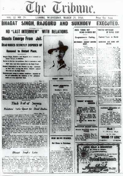 25 March 1931 The Tribune Newspaper Front Page Headline ' BHAGAT SINGH,RAJGURU AND SUKHDEV EXECUTED '