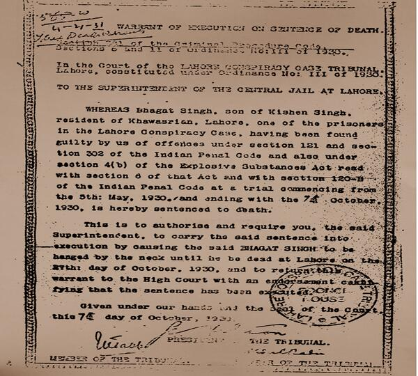 October 7 1930 Death warrant of Bhagat Singh