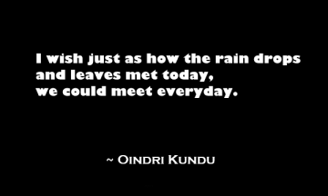 I wish just as how the rain drops and leaves met today, we could meet everyday.